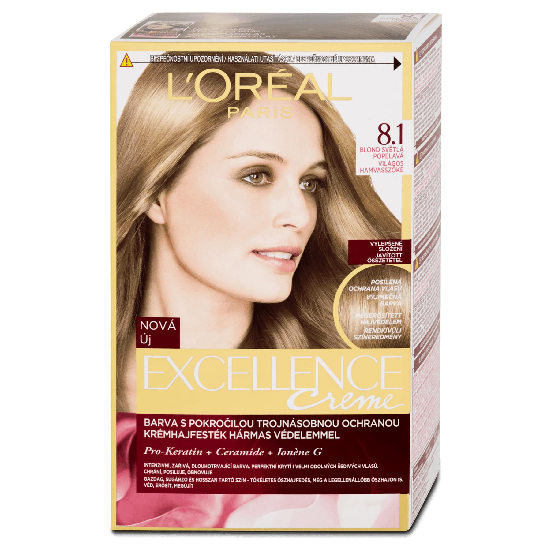 Loral Paris Excellence 81 Natural Ash Blonde Hair Dye Peppery Spot
